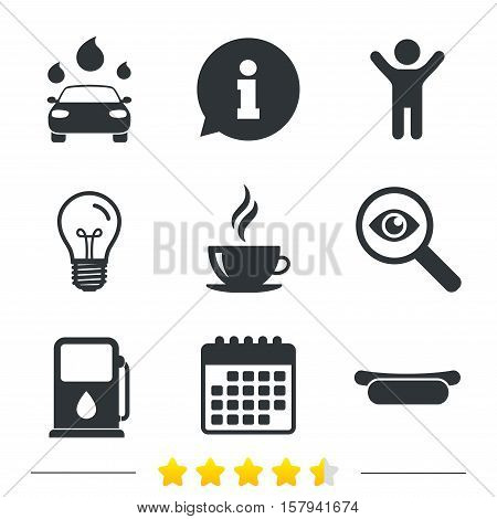 Petrol or Gas station services icons. Automated car wash signs. Hotdog sandwich and hot coffee cup symbols. Information, light bulb and calendar icons. Investigate magnifier. Vector