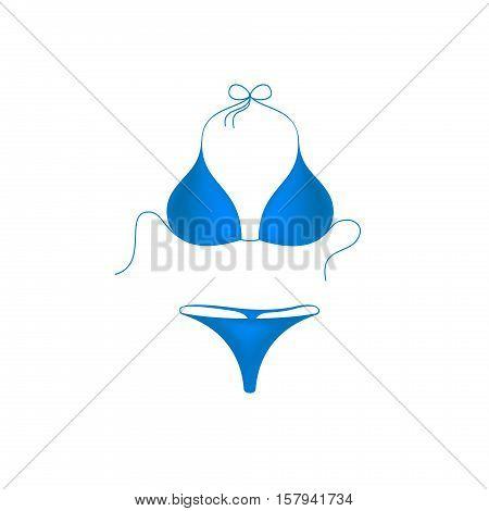 Bikini suit in blue design on white background
