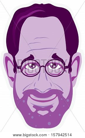 Professor bearded face vector illustration clip-art image