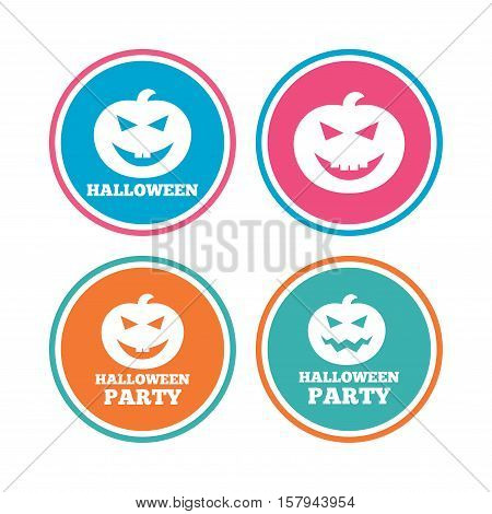 Halloween pumpkin icons. Halloween party sign symbol. All Hallows Day celebration. Colored circle buttons. Vector