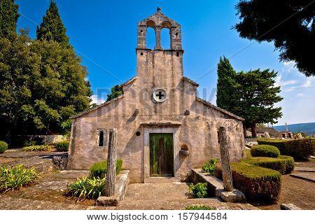 Stone village of Skrip old church view island of Brac Dalmatia Croatia
