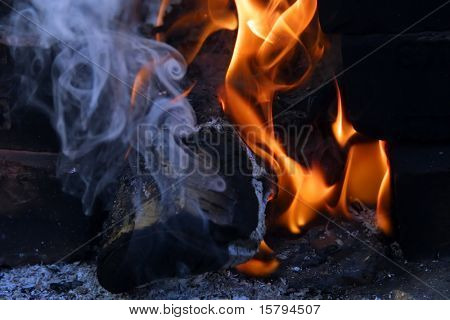 Campfire and smoke close-up.