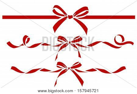 Set of decorative red bows with ribbons. Vector bow silhouette