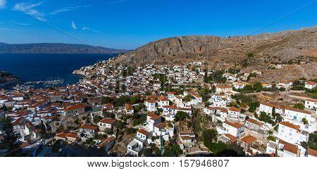 Panoramic view of Hydra island, Greece.