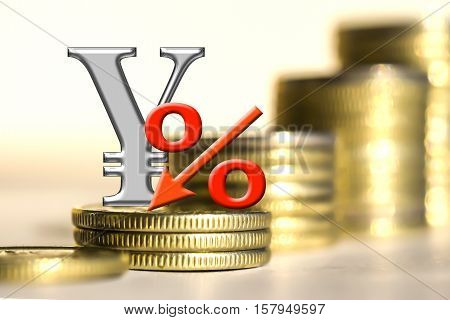 The symbol of the yuan and the percent of the background bars coins . The concept of changes in the exchange rate .