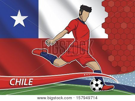 Vector illustration of football player shooting on goal. Soccer team player in uniform with state national flag of chile.