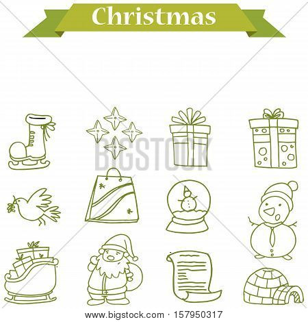 Christmas icons set vector illustration collection stock