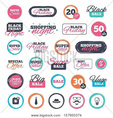 Sale shopping stickers and banners. Hipster photo camera. Mustache with beard icon. Glasses and tie symbols. Classic hat headdress sign. Website badges. Black friday. Vector