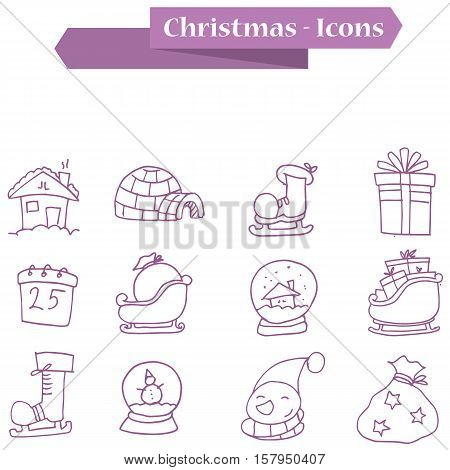 Element Christmas icons set vector collection stock