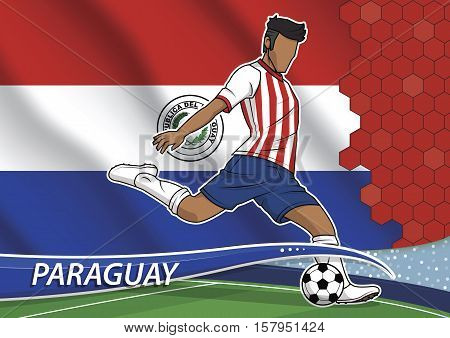 Vector illustration of football player shooting on goal. Soccer team player in uniform with state national flag of paraguay.