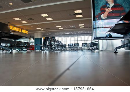 PRAHA - AUGUST 28:  Empty airport hall with empty seats between fly  in Prague, Czech Republic on August 28, 2009