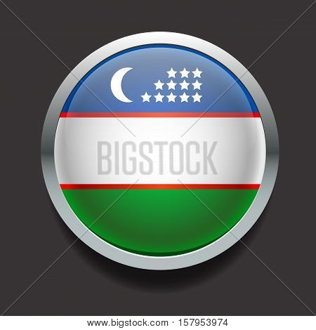 Vector glass round flag of the country Uzbekistan