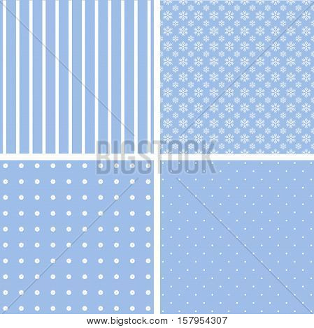 Blue different vector patterns. Pink and white colors.
