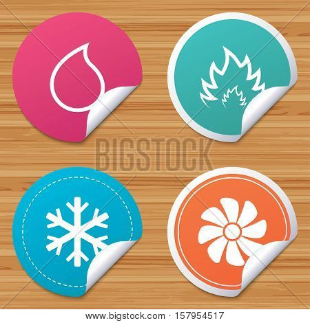 Round stickers or website banners. HVAC icons. Heating, ventilating and air conditioning symbols. Water supply. Climate control technology signs. Circle badges with bended corner. Vector