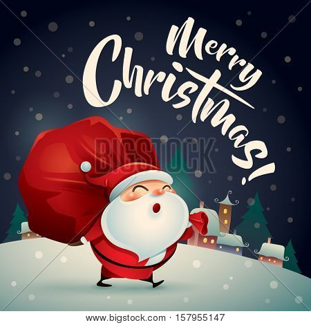 Merry Christmas! Santa Claus in Christmas snow scene. Christmas greeting card.
