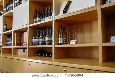 GUSH ETZION, ISRAEL - JANUARY 19, 2011: The wine on the shelves at israeli winery
