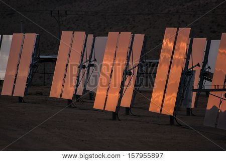 Solar panels at twilight. Renewable Energy in Israel