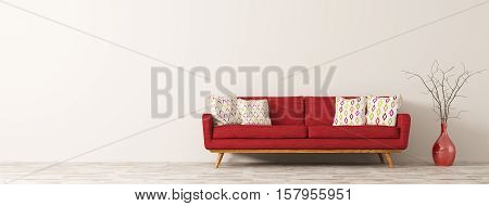 Modern interior of living room with red sofa white cushions and vase with branch panorama 3d rendering