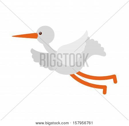 cute stork flying icon vector illustration design
