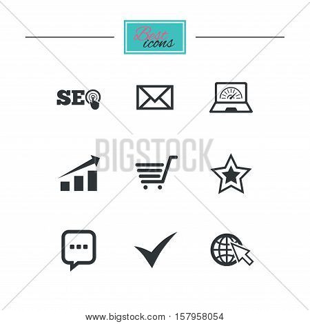 Internet, seo icons. Tick, online shopping and chart signs. Bandwidth, mobile device and chat symbols. Black flat icons. Classic design. Vector