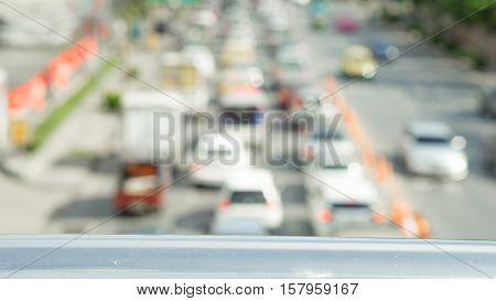 Traffic and transportation concept - Blurred car with traffic jam in rush hour from overpass in bangkok thailand