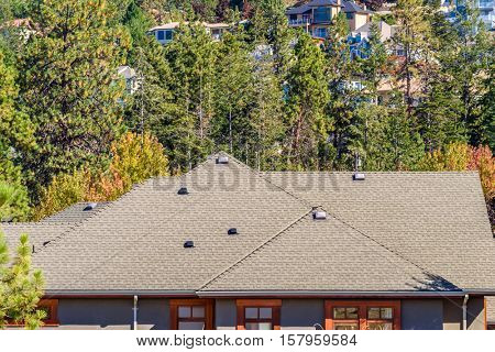 Roof of a house or home with gorgeous outdoor landscape in suburbs of Vancouver, Canada
