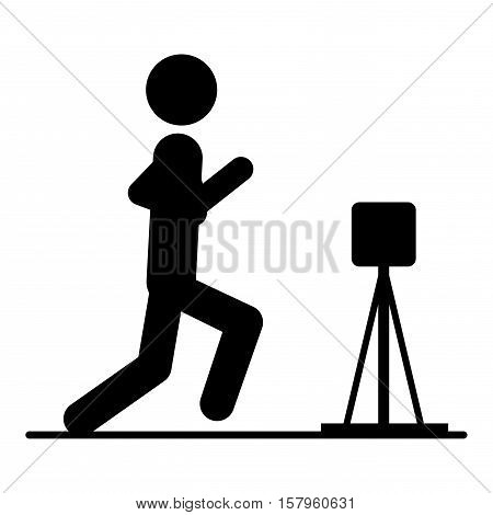 Pictogram practice artistic gymnastics icon. Sport hobby people person and human theme. Isolated design. Vector illustration