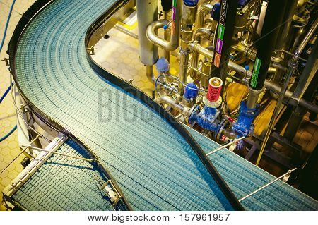 Beer Production Line. Equipment For The Staged Production And Bottling Of The Finished Product