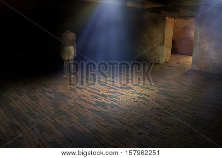 Ghost little girl appears in old dark room ghost in haunted house child is confined to death.