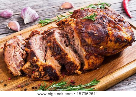 Big Piece Of Slow Cooked Oven-barbecued Pulled Pork Shoulder