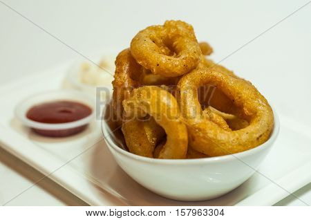 Shot of fried squids with ketchup and tar tar sauce on white background.