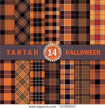 Fourteen Halloween Tartan Seamless Pattern. Halloween Tartan Plaid Inspired Background. Suits for Decorative Paper Fashion Design and House Interior Design as Well as for Hand Crafts and DIY.