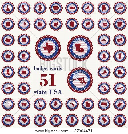 Badge cards of State USA. Stylized label sticker with the name of the State year of creation the contour maps and the names abbreviations.