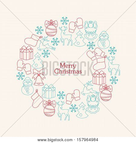 Stock vector christmas wreath with line decorative elements