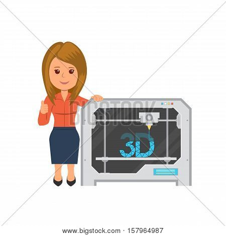 Isolated woman with three D printer. The printing process on the 3D printer. Modern technology 3d printing in flat style. Vector illustration for website or infographic.