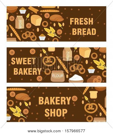 Bakery products banner, flat style. Set of different breads and pastries horizontal board. With inscription fresh bread, bakery shop, sweet bakery. Vector illustration