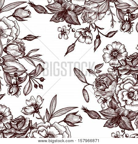 vintage vector floral composition, background in victorian style, template with flowers, buds and leaves, ink drawing, imitation of engraving, hand drawn nature backdrop, invitation or gift card