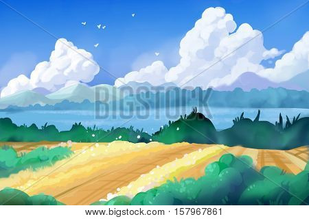 Fantastic Watercolor Style Painting: Beautiful Countryside. Video Game's Digital CG Artwork, Concept Illustration, Realistic Cartoon Style Background