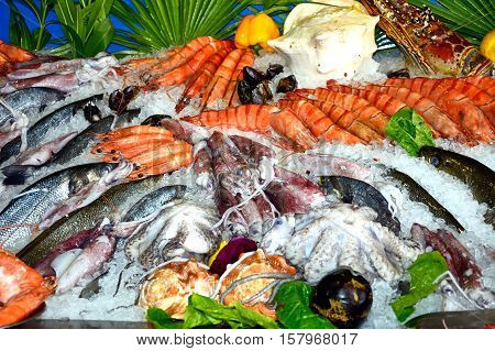 Fresh fish and seafood displayed outside a restaurant Rethymno Crete Greece Europe.