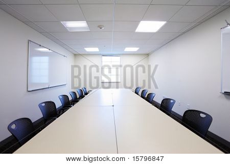 Modern office conference room interior.