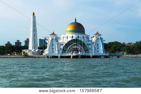 Front view of Malacca Straits Mosque nearly sunset time