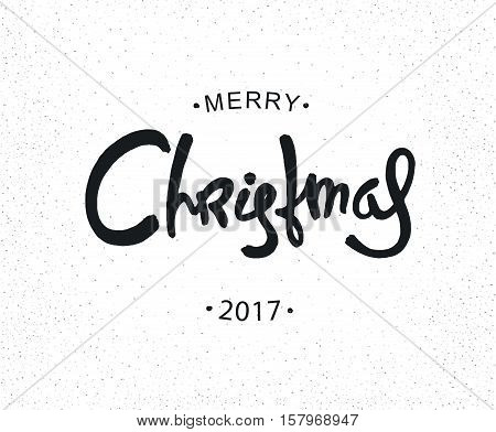 Hipster Christmas retro label. Monochrome hand-drawn calligraphy