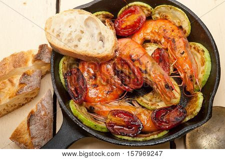 Roasted Shrimps With Zucchini And Tomatoes