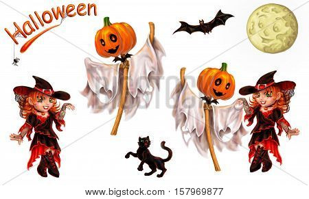 Set of characters for registration of Halloween. Separately on white. An inscription, the cat, a ghost dances with the witch, the moon, a bat, a spider.