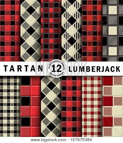 Twelve 3D Lumberjack Tartan Seamless Pattern. Trendy volumetric illustration for wallpapers. Traditional Scottish ornament. Tartan plaid inspired background