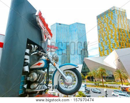 Las Vegas, United States of America - May 05, 2016: Harley Davidson cafe on July 8, 2013 in Las Vegas. Over 15 custom motorcycles are on display throughout the Cafe, including bikes from Billy Joel, Elvis and Ann-Margaret.