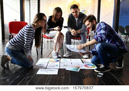 Startup Diversity Teamwork Brainstorming Meeting Concept.Business Team Coworker Global Sharing Economy Laptop.People Working Planning Start Up.Group Young Man Woman Looking Report, Modern Device Office