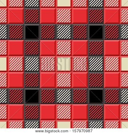 3D Lumberjack Tartan Seamless Pattern in Black Beige Red and Gray. Trendy volumetric illustration for wallpapers. Traditional Scottish ornament. Tartan plaid inspired background.