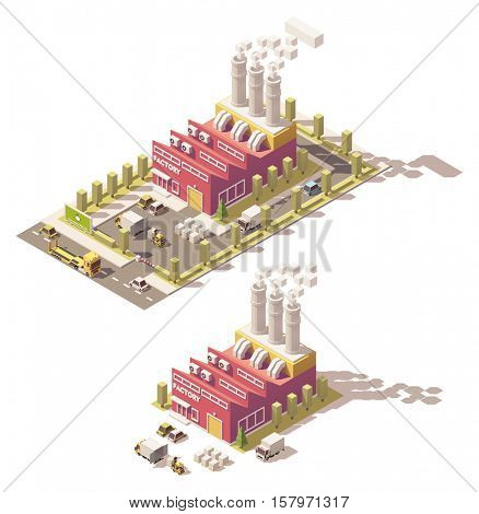 Vector isometric low poly factory
