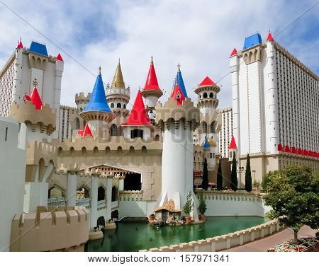 Las Vegas, Nevada, United States of America - May 05, 2016: Excalibur Hotel and Casino one of many hotels featuring children's attractions, opened in June 19, 1990.